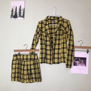 Yellow Plaid Clueless Cher As If Costume Skirt Set